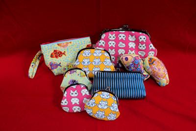 絹小物製品 がま口、ポーチ、チャーム、端布
